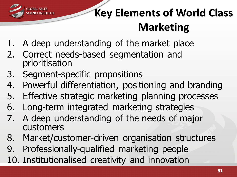 Key Elements of World Class Marketing