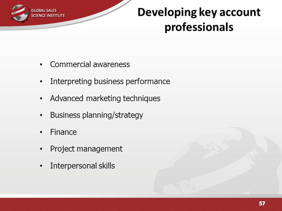 Developing key account professionals