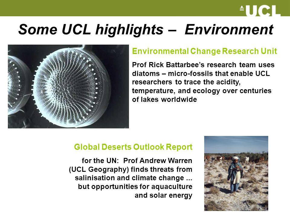Some UCL highlights – Environment