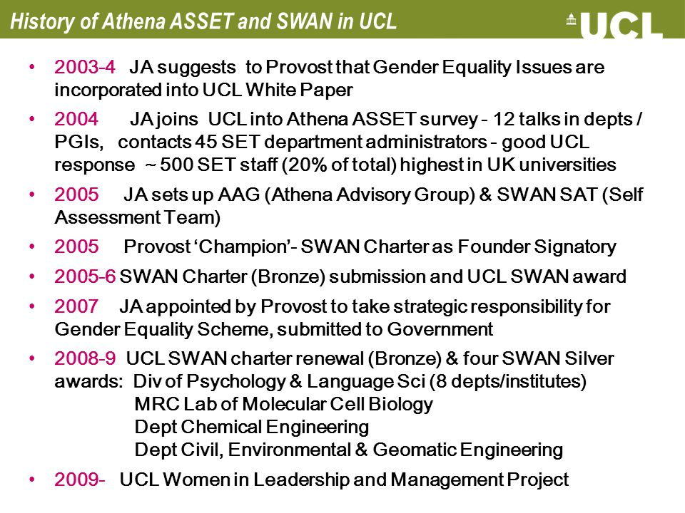 History of Athena ASSET and SWAN in UCL