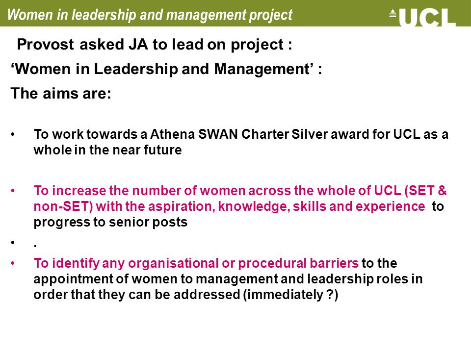 Women in leadership and management project