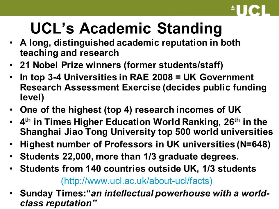 UCL's Academic Standing