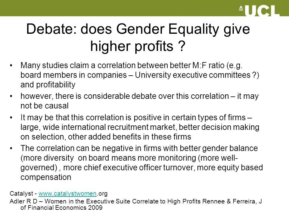 Debate: does Gender Equality give higher profits