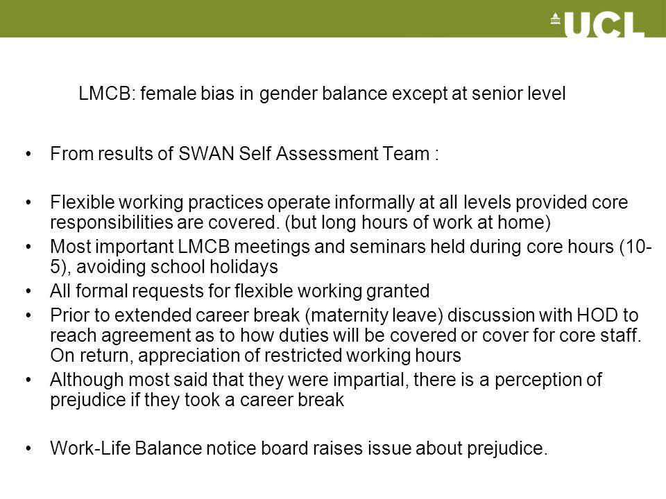 LMCB: female bias in gender balance except at senior level