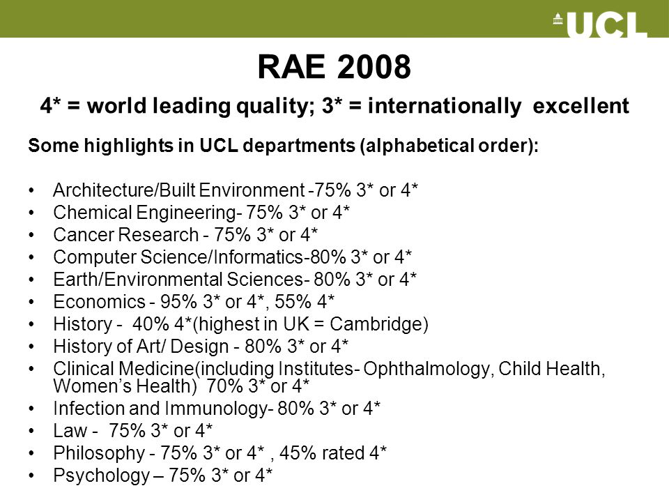 RAE 2008 4* = world leading quality; 3* = internationally excellent