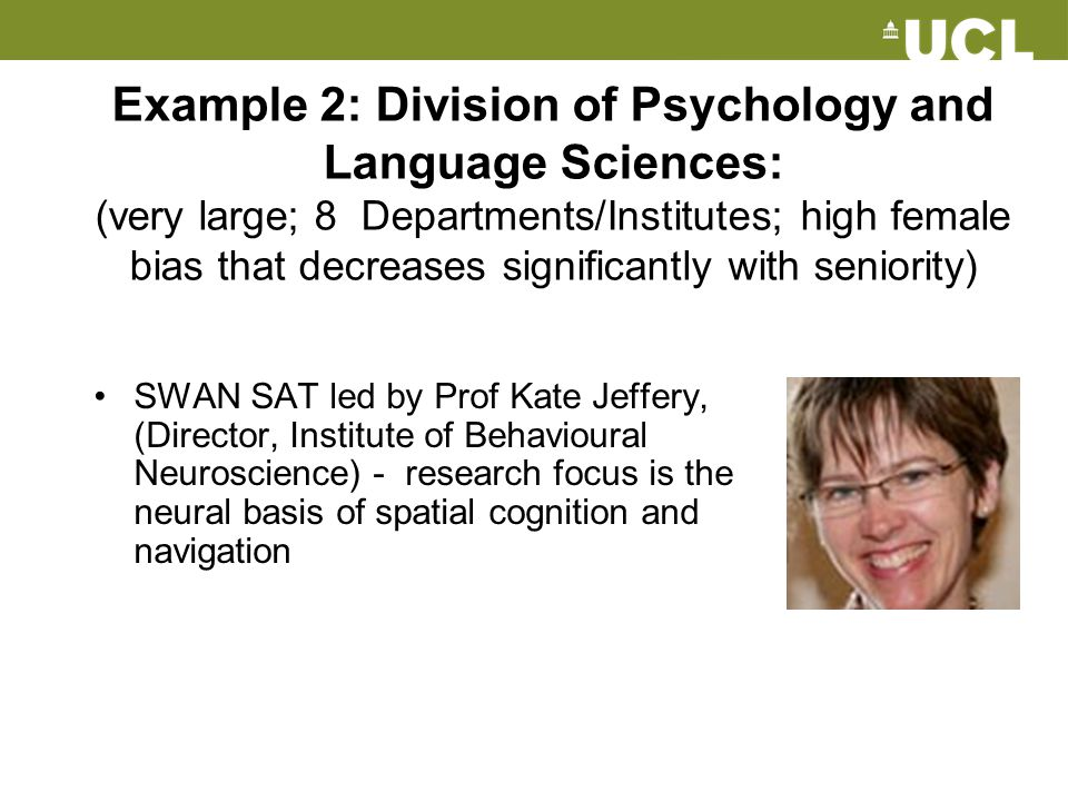 Example 2: Division of Psychology and Language Sciences: (very large; 8 Departments/Institutes; high female bias that decreases significantly with seniority)