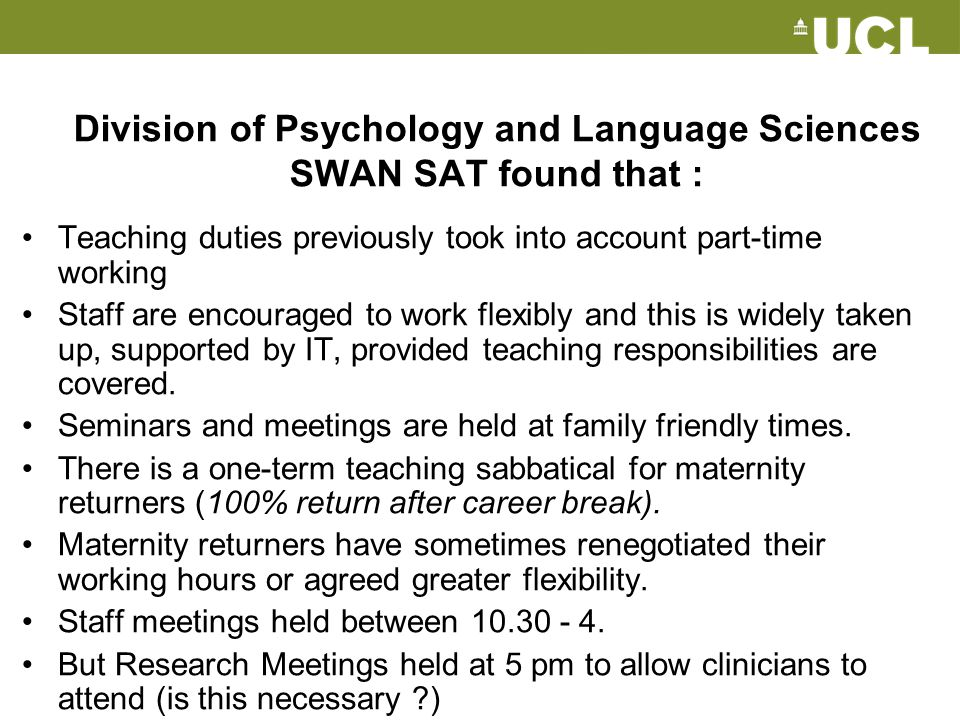 Division of Psychology and Language Sciences SWAN SAT found that :