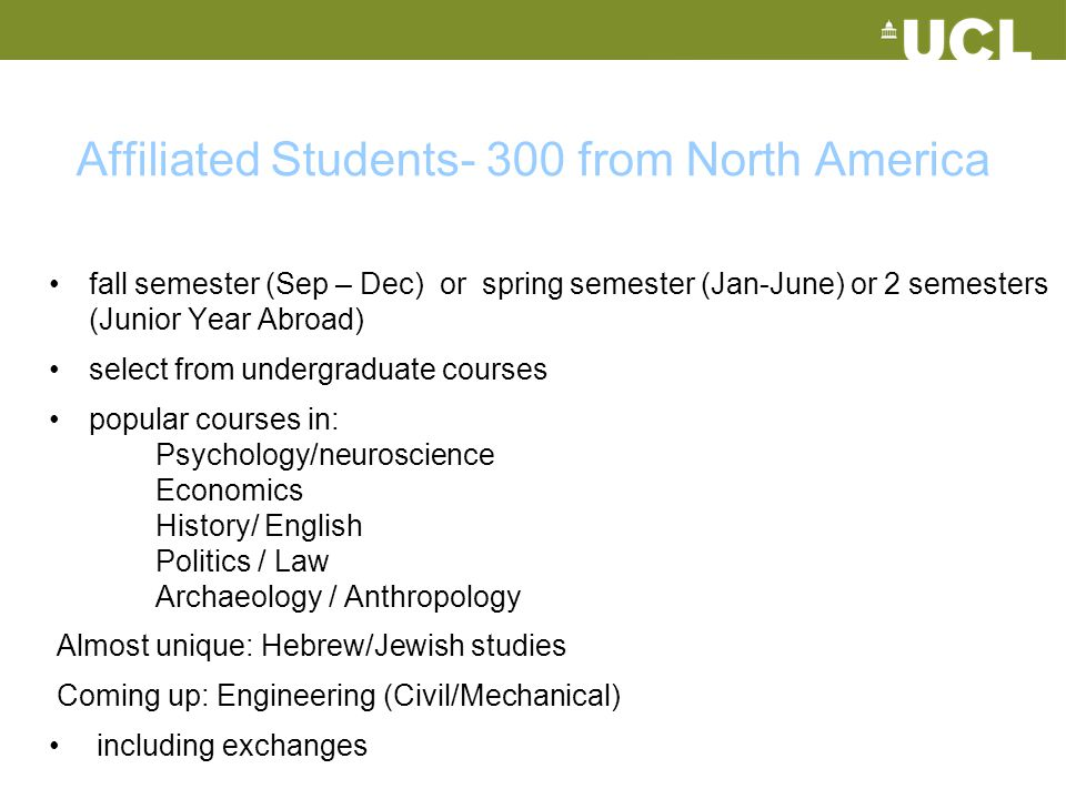 Affiliated Students- 300 from North America
