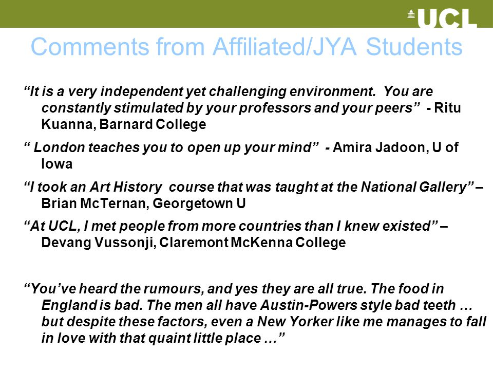 Comments from Affiliated/JYA Students
