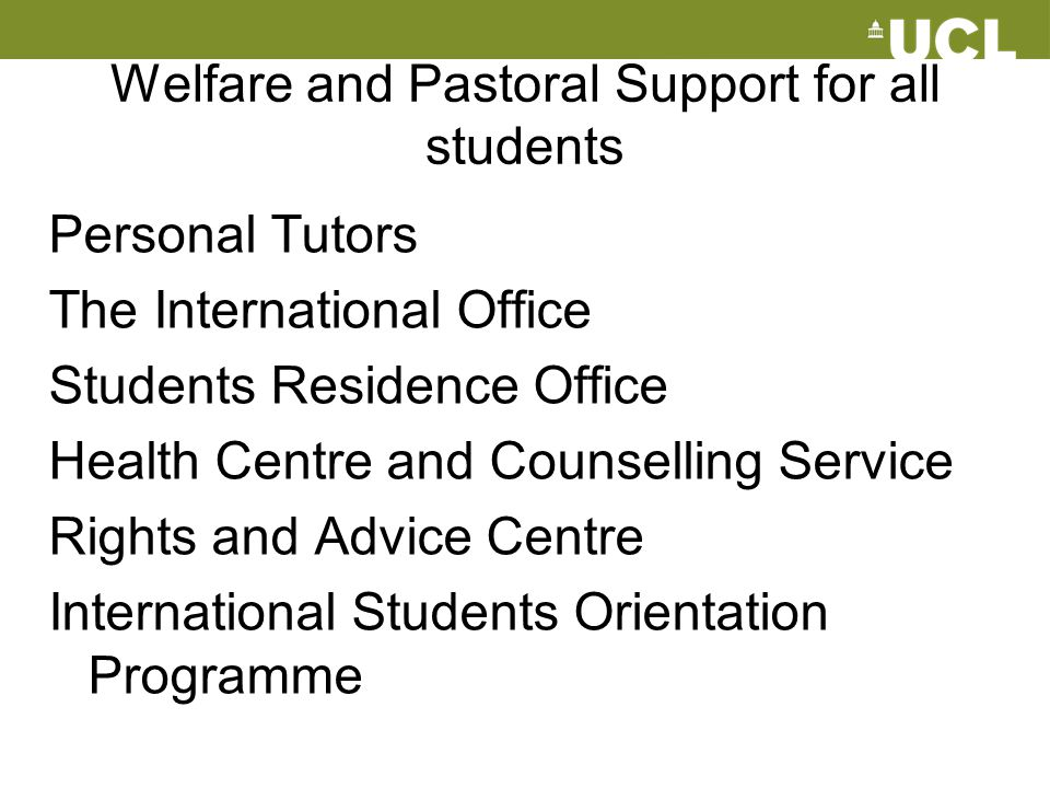 Welfare and Pastoral Support for all students