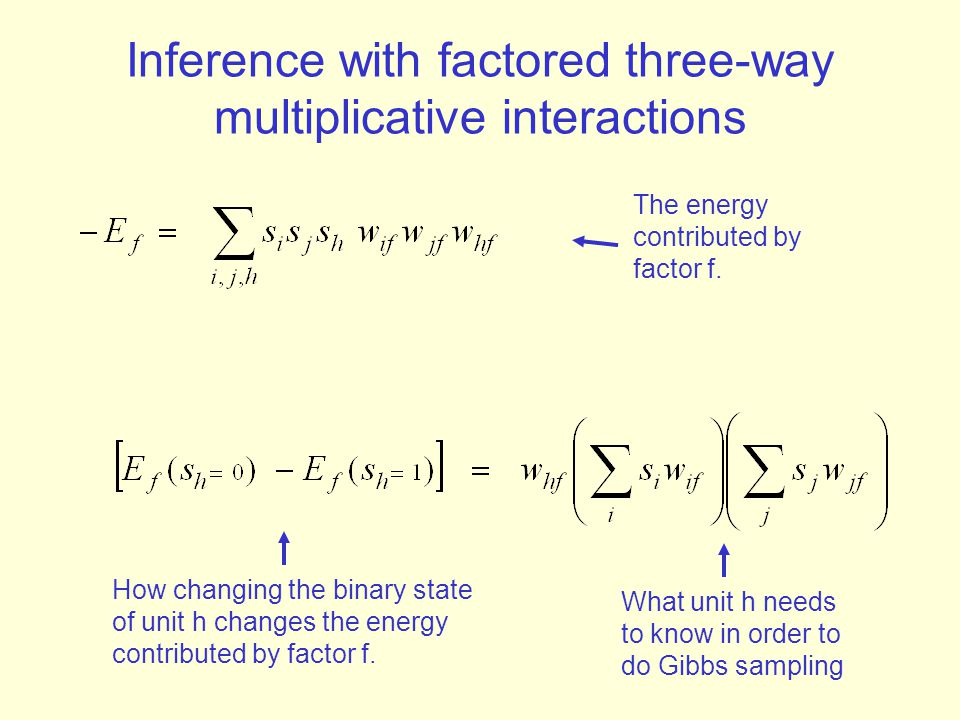 Inference with factored three-way multiplicative interactions
