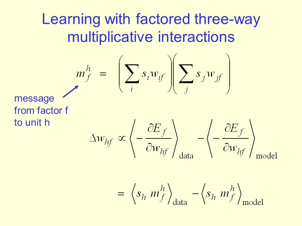 Learning with factored three-way multiplicative interactions