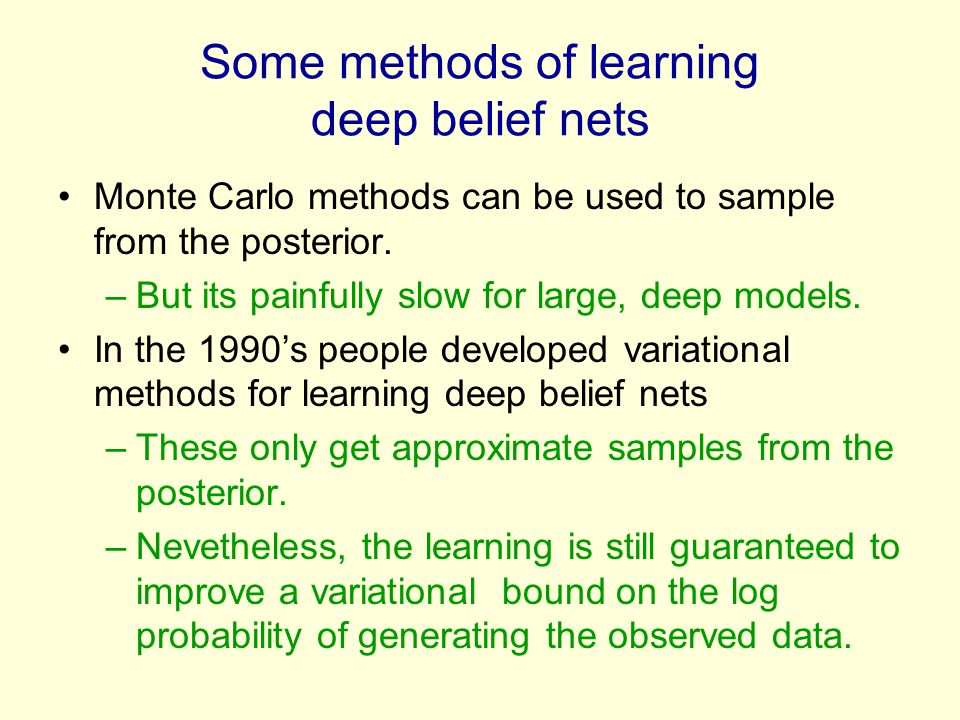 Some methods of learning deep belief nets