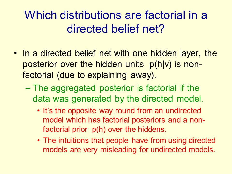 Which distributions are factorial in a directed belief net