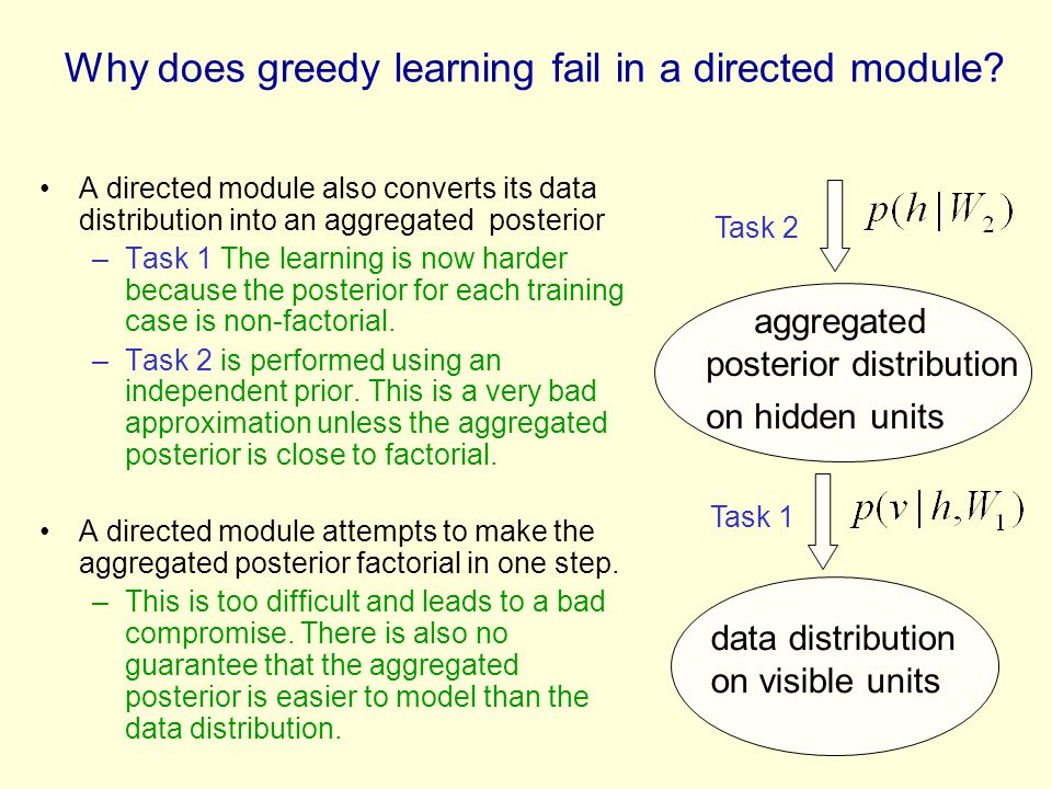 Why does greedy learning fail in a directed module