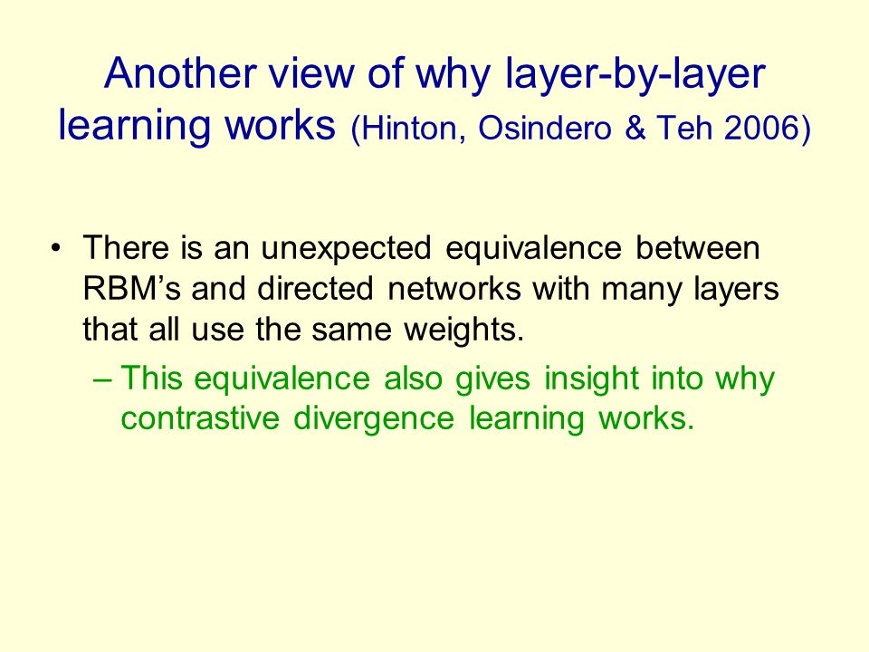 Another view of why layer-by-layer learning works (Hinton, Osindero & Teh 2006)