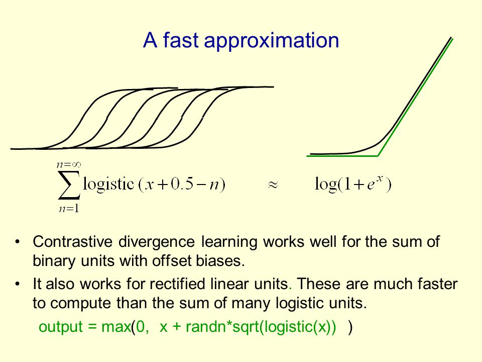 A fast approximation Contrastive divergence learning works well for the sum of binary units with offset biases.