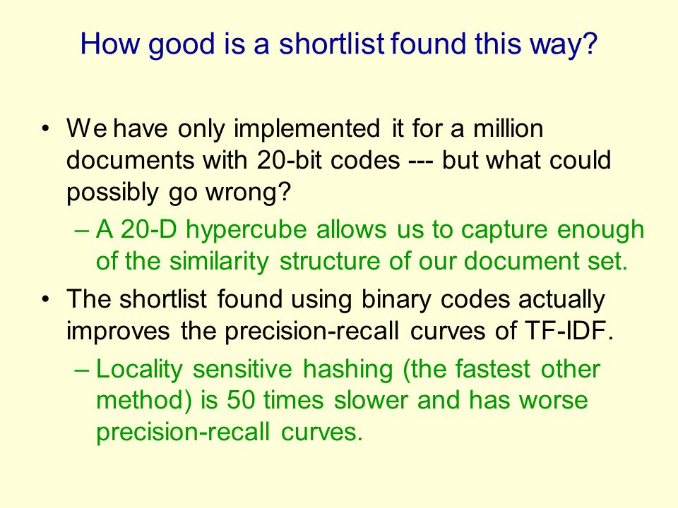 How good is a shortlist found this way