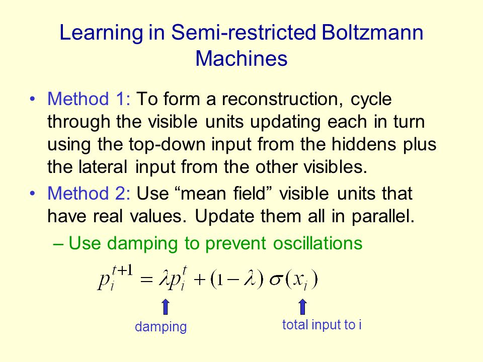 Learning in Semi-restricted Boltzmann Machines