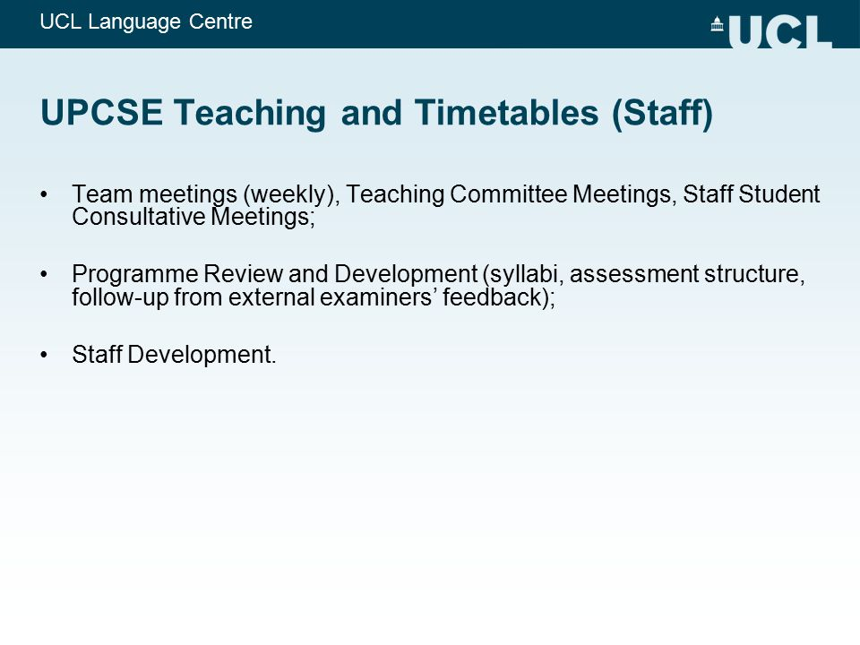 UPCSE Teaching and Timetables (Staff)