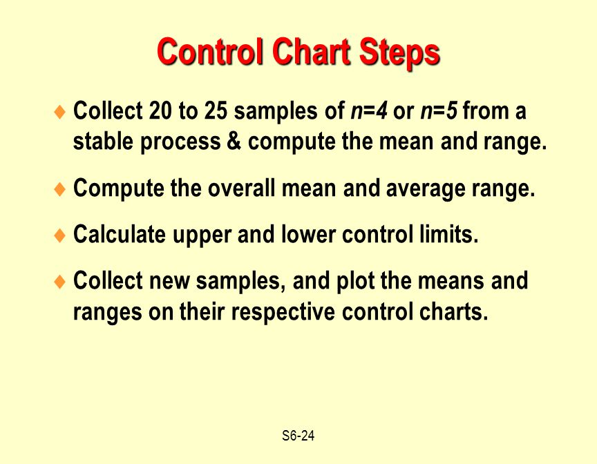 Control Chart Steps Collect 20 to 25 samples of n=4 or n=5 from a stable process & compute the mean and range.