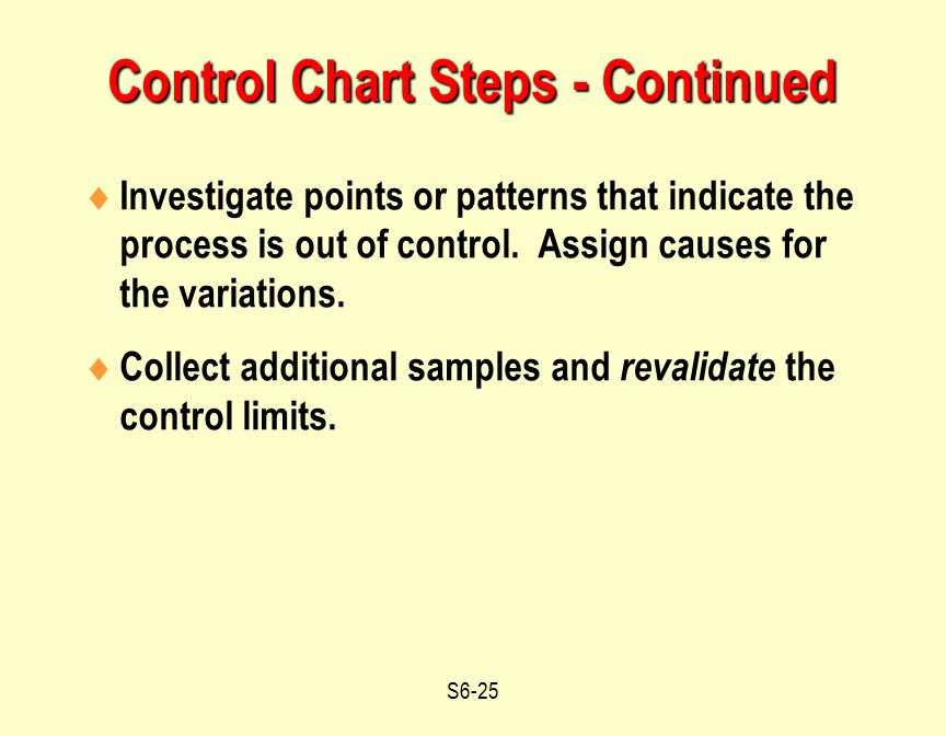 Control Chart Steps - Continued