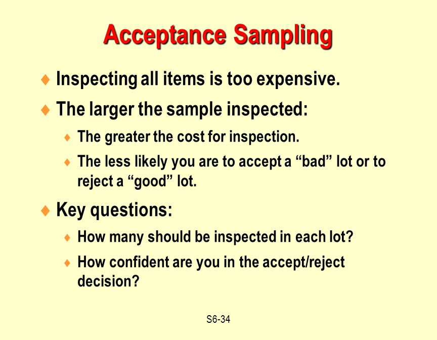 Acceptance Sampling Inspecting all items is too expensive.