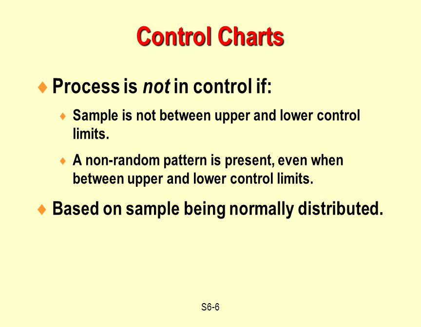 Control Charts Process is not in control if: