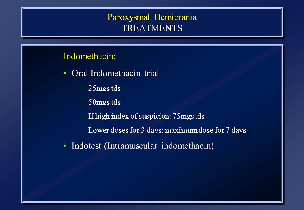 Paroxysmal Hemicrania TREATMENTS