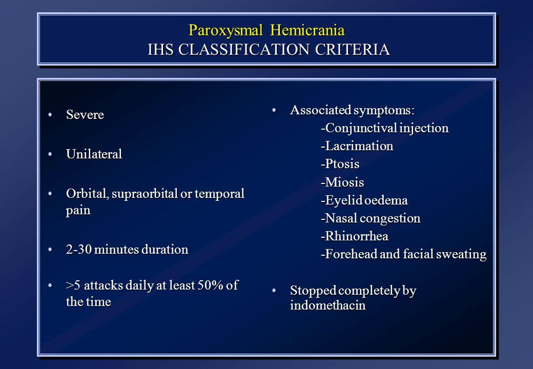Paroxysmal Hemicrania IHS CLASSIFICATION CRITERIA
