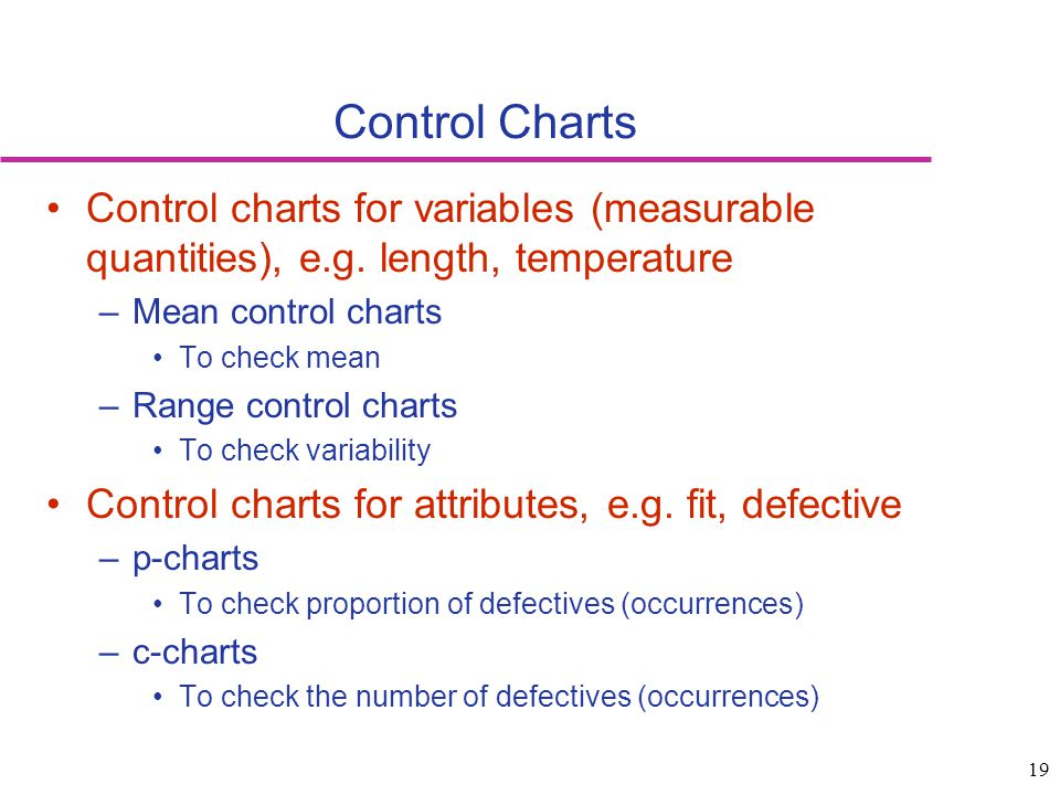 Control Charts Control charts for variables (measurable quantities), e.g. length, temperature. Mean control charts.