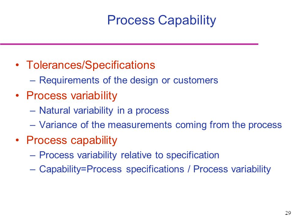Process Capability Tolerances/Specifications Process variability