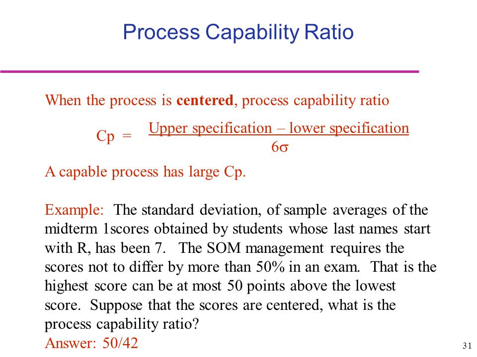 31 Process Capability Ratio