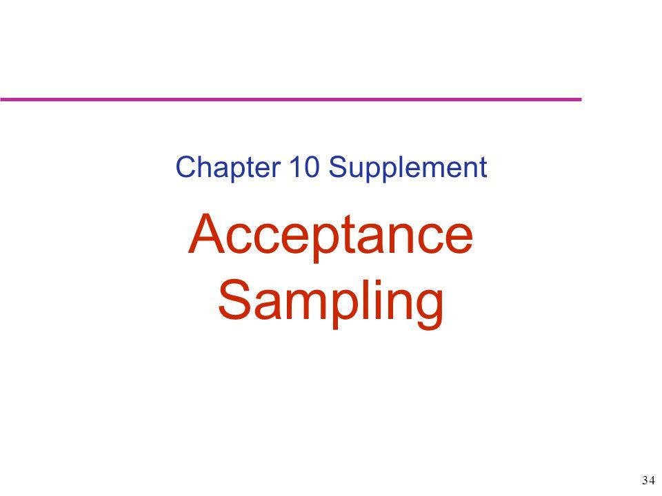Chapter 10 Supplement Acceptance Sampling