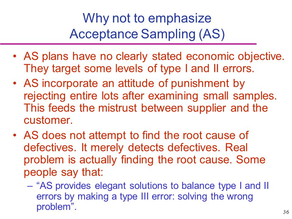Why not to emphasize Acceptance Sampling (AS)