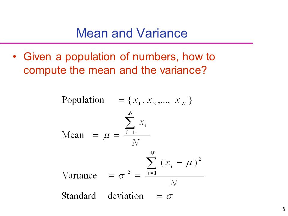 how to find the variance given the mean