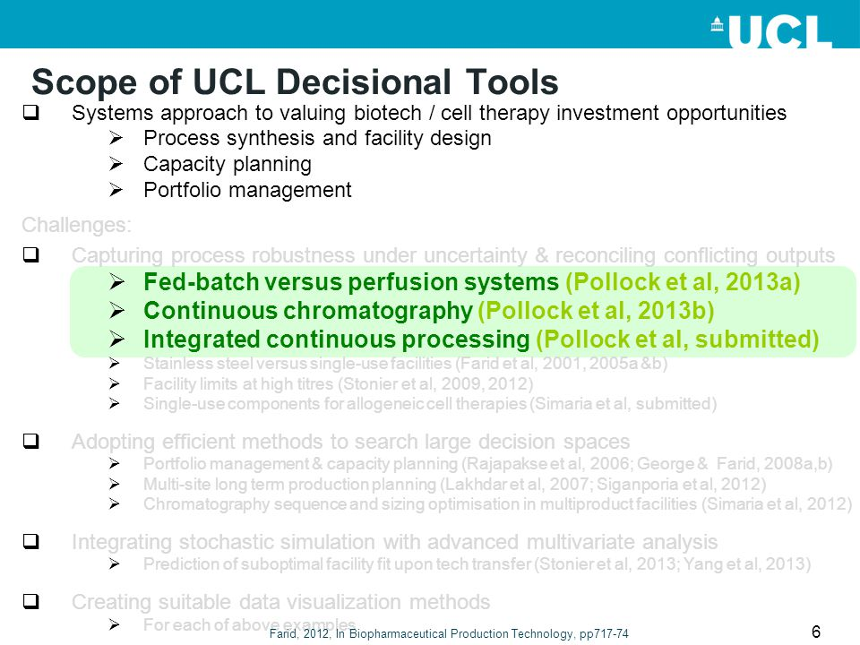 Scope of UCL Decisional Tools