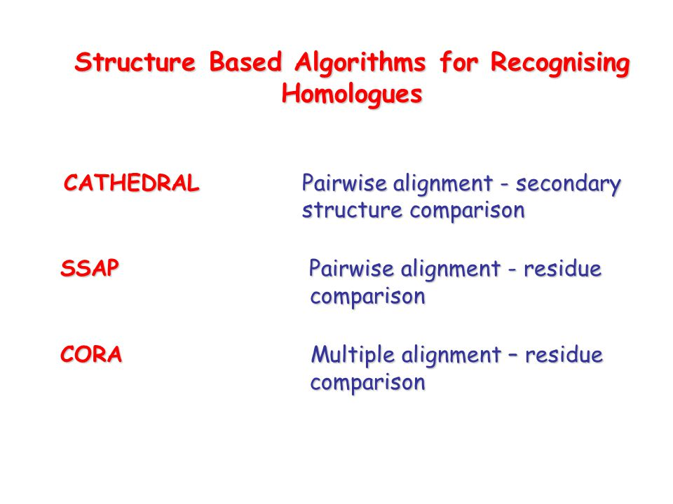 Structure Based Algorithms for Recognising Homologues