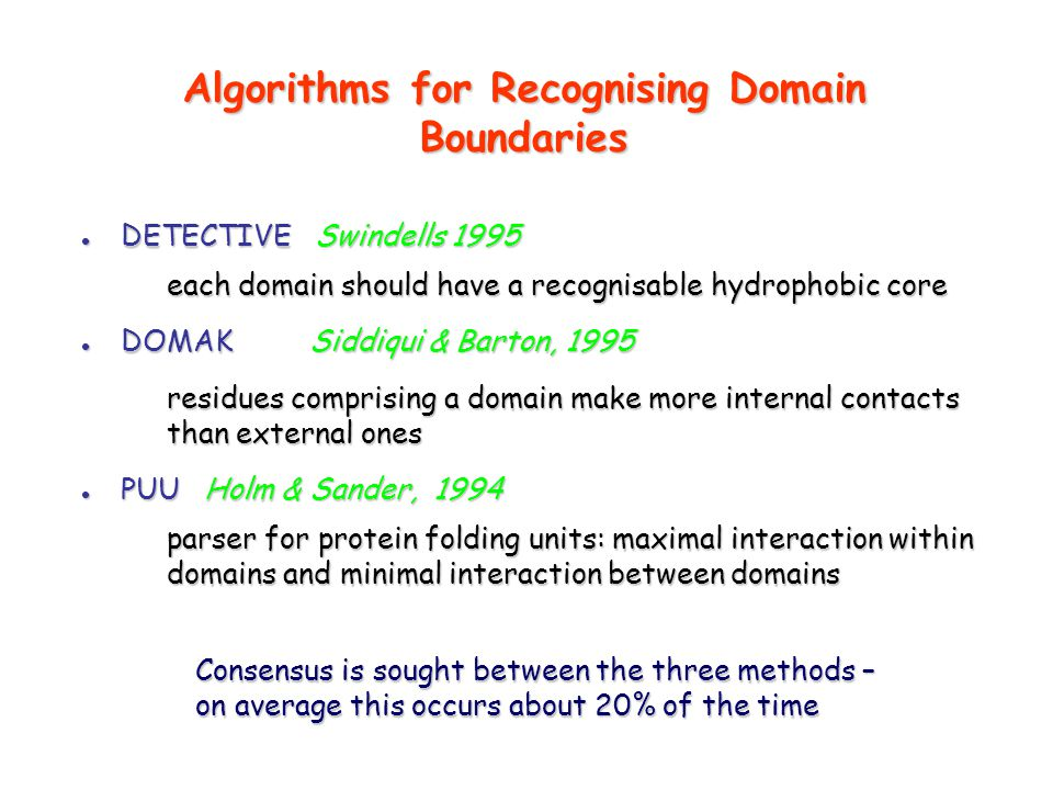 Algorithms for Recognising Domain Boundaries