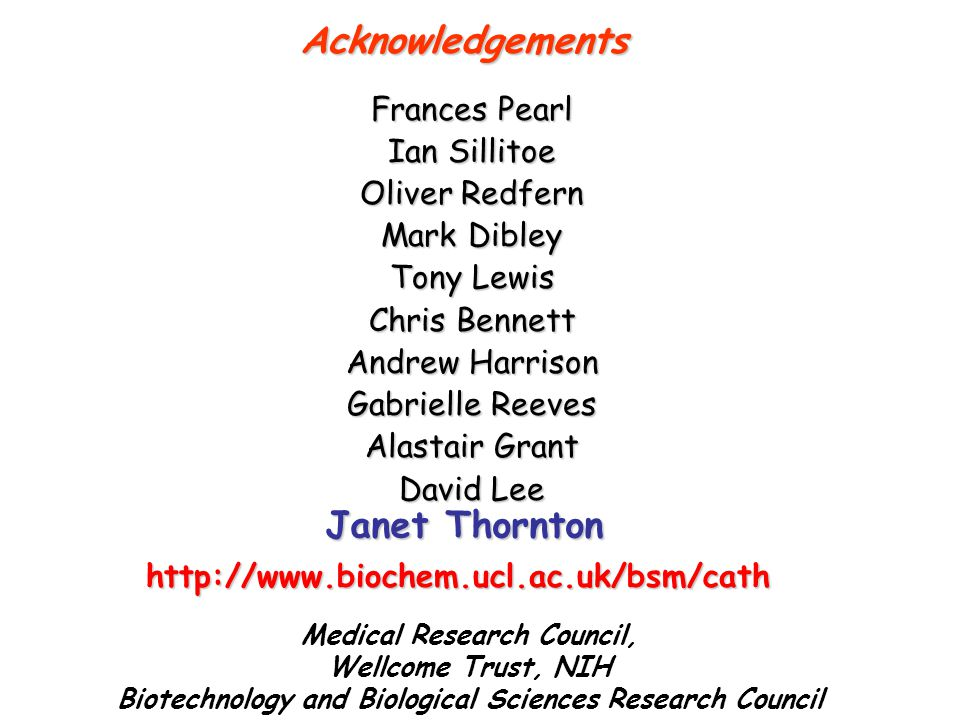 Acknowledgements Janet Thornton Frances Pearl Ian Sillitoe
