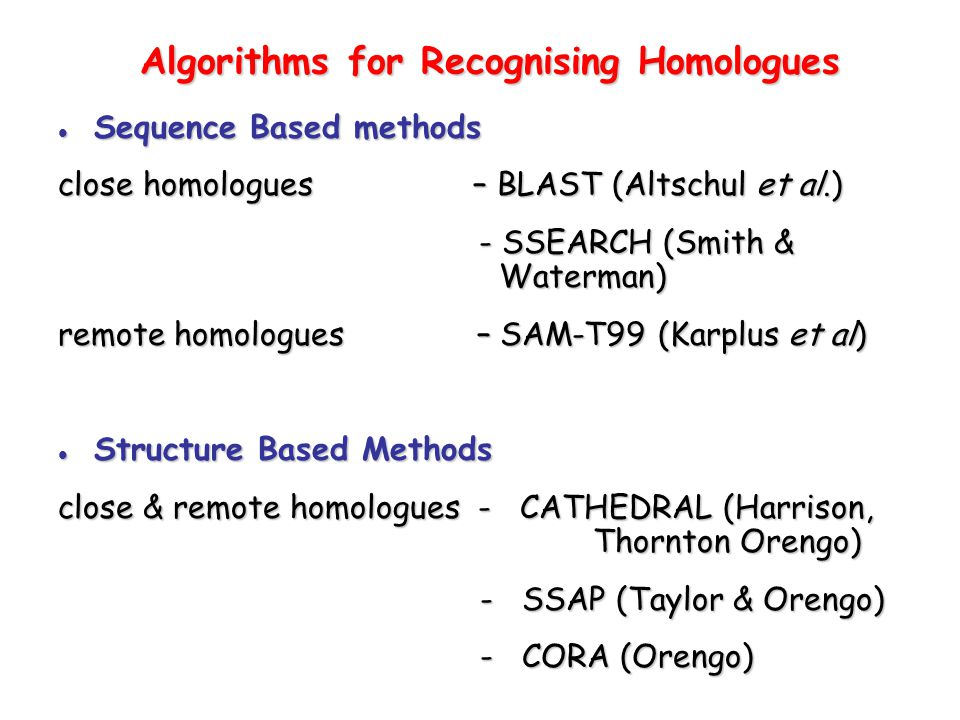 Algorithms for Recognising Homologues