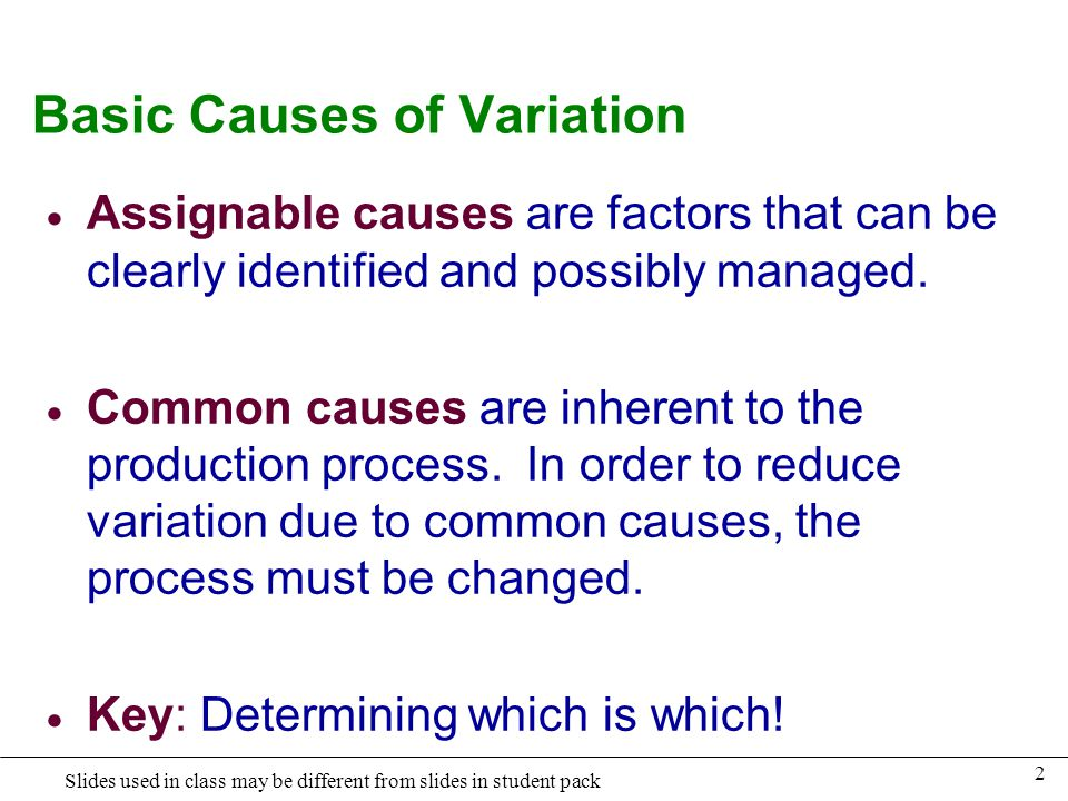 Basic Causes of Variation
