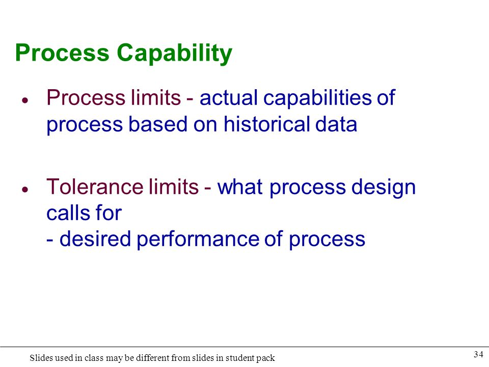 Process Capability Process limits - actual capabilities of process based on historical data.