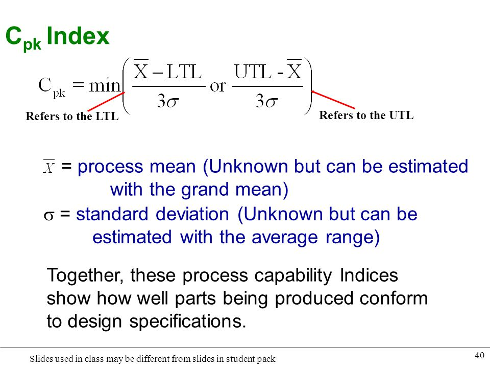 Cpk Index = process mean (Unknown but can be estimated