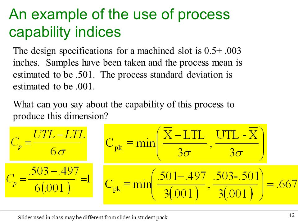 An example of the use of process capability indices