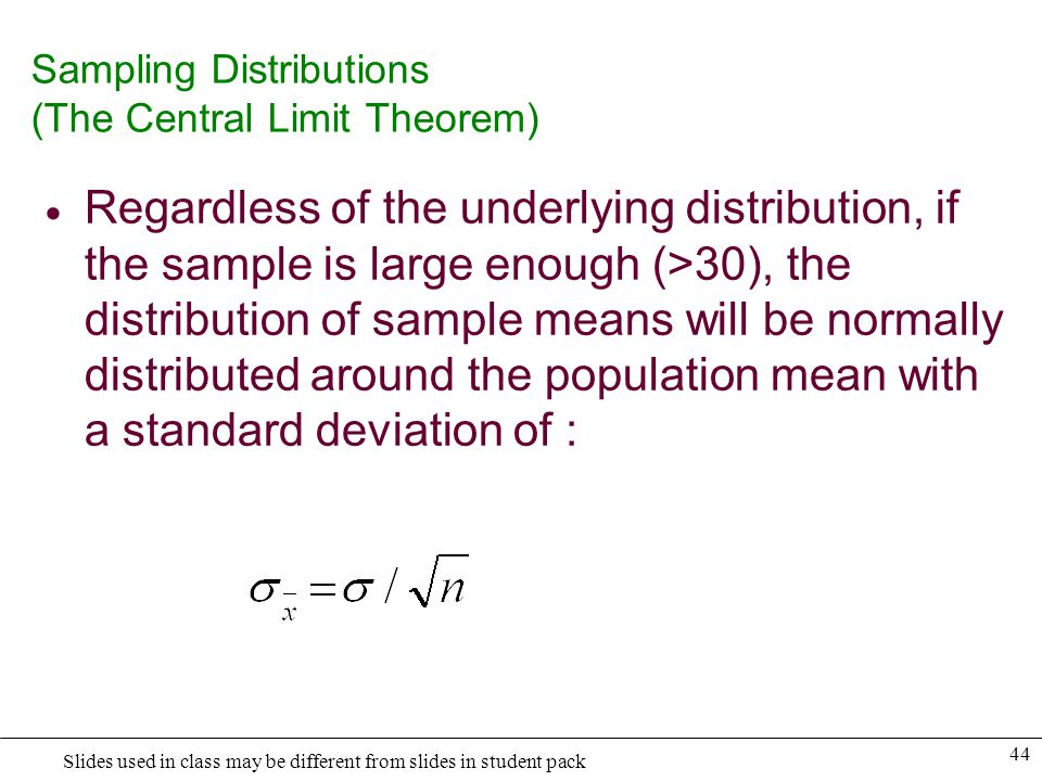 Sampling Distributions (The Central Limit Theorem)