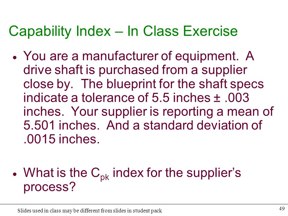 Capability Index – In Class Exercise