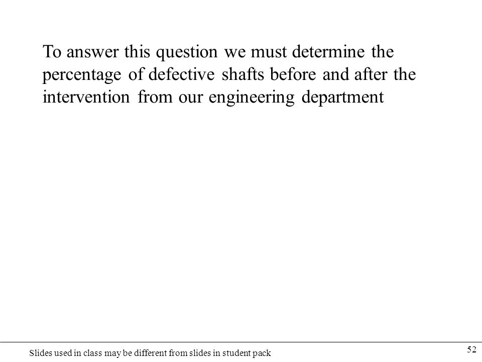To answer this question we must determine the percentage of defective shafts before and after the intervention from our engineering department