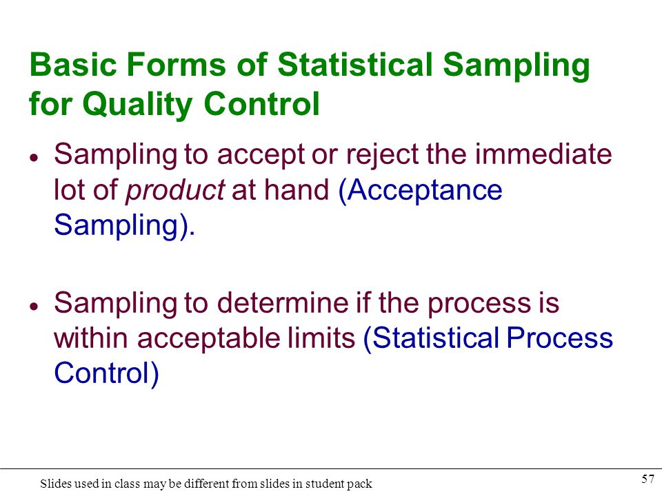 Basic Forms of Statistical Sampling for Quality Control