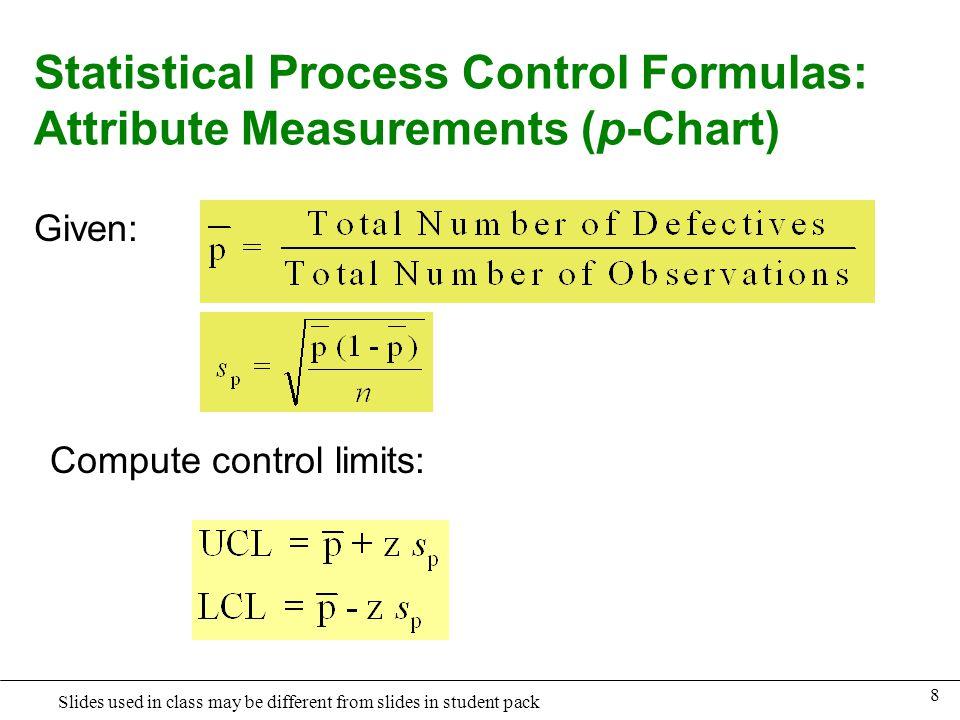 Statistical Process Control Formulas: Attribute Measurements (p-Chart)